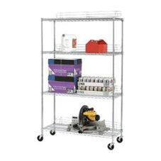 Chrome 4-Shelf Shelving Unit w/ Casters, 18 x 48 x 72