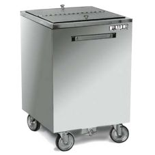 FWE All Weather Mobile S/S Ice Bin, 200 Lb Capacity
