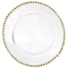 "Ten Strawberry Street BG-340 Gold 13"" Beaded Charger Plate - 4 / CS"