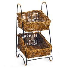 "Two-Tier Display Basket w/ Metal Frame, 11"" x 12"" x 24"""