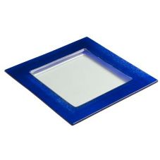 "Steelite 6527B602 Creations Blue Glass 10"" Square Border Plate"
