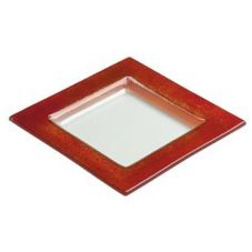 "Steelite 6527B626 Creations Red Glass 6-3/4"" Square Border Plate"