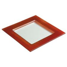 "Steelite Creations Red Glass 10"" Square Border Plate"