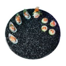 "Gourmet Display® 15"" Black Round Serving Stone Tray"