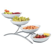 Gourmet Display® Platinum 4-Tier Display With Porcelain Bowls