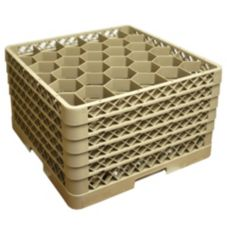 Traex® TR12HHHHH Beige 30 Compartment Glass Rack with 5 Extenders