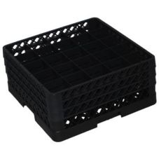 Traex® TR6BBB-06 Black 25 Compartment Glass Rack with 3 Extenders