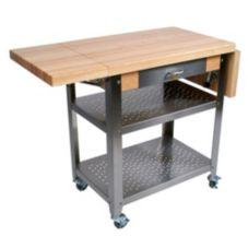 John Boos CUCE50 Cucina Elegante Hard Maple Top With Cart