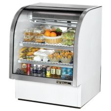 True® White Curved Glass Refrigerated Deli Case, 17 Cubic Ft