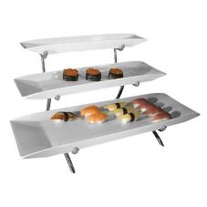 Gourmet Display® Silver Vein 3-Tier Long Porcelain Platter Display