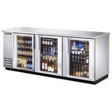 True® TBB-4G-S-LD 3-Glass Door Back Bar Cooler for (152) 6-Packs