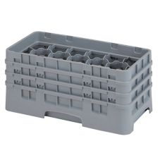 "Cambro 17HS638151 Gray 17 Comp 6-7/8"" Half Size Glass Rack - 3 / CS"