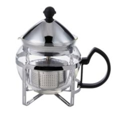 Service Ideas T600CC 20 Oz. Stainless Steel Holder with Glass Teapot