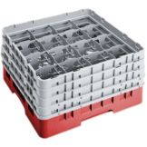 "Cambro 16S900163 Camrack® Red 16 Comp 9-3/8"" Full Size Glass Rack"