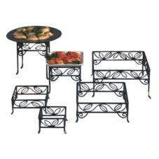 American Metalcraft SLRS7 Black Wrought Iron Leaf Pattern Sq Riser Set
