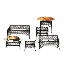 American Metalcraft SSRS8 Black Wrought Iron Scroll Square Riser Set