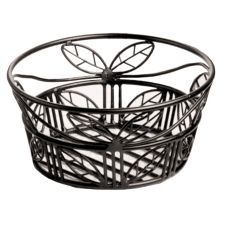 American Metalcraft BLLB94 Ironworks Leaf Pattern Black Wire Basket