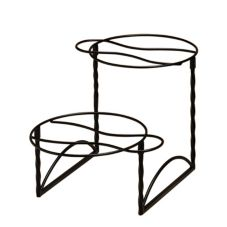 American Metalcraft TLTS1224 Ironworks Black Iron 2-Tier Pizza Stand