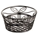American Metalcraft BLLB81 Ironworks Leaf Design Black Wire Basket