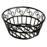 American Metalcraft BLSB80 Ironworks Scroll Design Black Iron Basket
