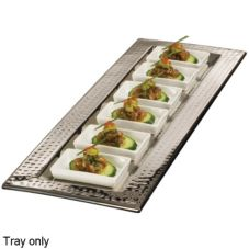 American Metalcraft HMRT247 Rectangular Hammered S/S 23.75 In. Tray
