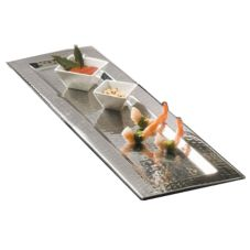 "American Metalcraft HMRT1611 Hammered S/S 16-3/8"" Rectangular Tray"