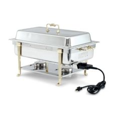 Vollrath® 46045 Classic S/S Brass Trim Electric Chafer