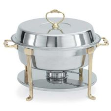 Vollrath 46030 Classic Round 5.8 Qt. S/S Brass Trim Chafer