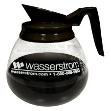 Bloomfield® Black Handle Glass Reg. Decanter with Wasserstrom Logo