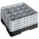 "Cambro 16S900110 Black 16 Comp 9-3/8"" Full Size Glass Rack - 2 / CS"