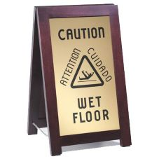 "Cal-Mil 851-WET Wood Frame 12 x 20"" ""Wet Floor"" Sign"