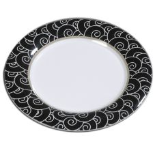 "Carlisle® 43025921 Durus® 12"" Black Waves Dinner Plate"