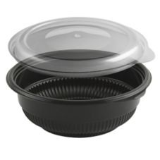 Anchor Packaging Black 12 Oz. Incredi-Bowl Combo Pack w/ Clear Lid