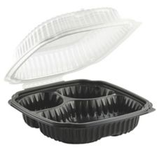 "Anchor Packaging 4659131 3-Compartment 9"" Square Container - 100 / CS"