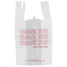 "Inteplast Group 75001311 White ""THANK YOU"" T-Shirt Bag - 1000 / CS"