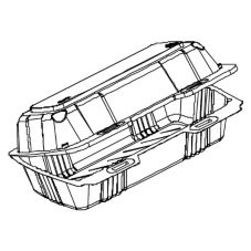 "Par-Pak Clear Hinged PET Plastic 9 x 4 x 2"" Container"