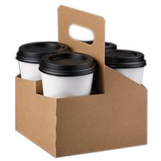 LBP 2348608 Kraft Board 4-Cup Drink Carrier with Handle - 200 / CS
