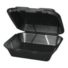 "Genpak Black Hinged 9¼ x 9¼ x 3"" Foam Container"