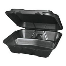 Genpak SN203-3L 9.25 x 9.25 x 3 3-Comp. Black Container - 200 / CS