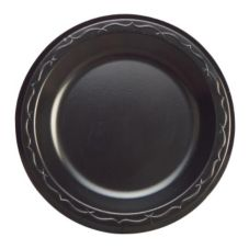 "Genpak® LAM09-3L 8.9"" Round Black Laminated Foam Plate - 500 / CS"