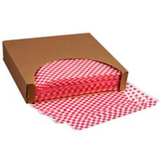 "Brown Paper 117B12RC Kraft Red / White Check 12"" Wax Sheet - 5000 / CS"
