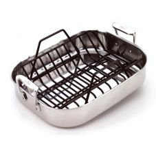 All-Clad Metalcrafters 51114 Petite S/S Roti Pan With Rack