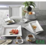 CAC China White Fluted 1 Oz. Square Ramekin