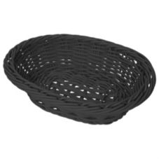 """G.E.T. WB-1503-BK Black 9 x 7"""" Oval PolyWeave Basket - 12 / CS"""