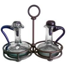 Orion I26-R/CR Cruets with Rustic Copper Holder - Set