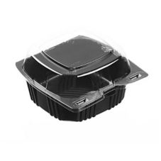"Par-Pak Black Base 5x5"" Hinged Clamshell Container w/ Clear Lid"