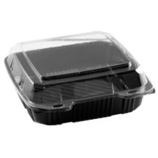 "Par-Pak Black Base 9"" Hinged Container w/ Clear Lid"
