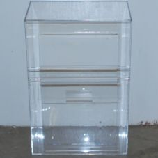 Acrylic Design Hinged Lid Display Bin w/ 2 Z-Bar Handles