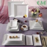 "CAC China KSE-16 Kingsquare 10"" Square Plate - 12 / CS"