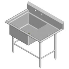 "Amtekco S/S 1-Compartment Sink w/ 18"" Right Drain Board"
